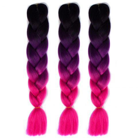 1 Pcs Multicolor Ombre Long High Temperature Fiber Braided Hair Extensions - Black And Rose Red - S