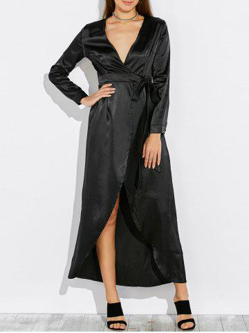 Online Satin Long Wrap Kimono Prom Dress with Sleeves BLACK XL