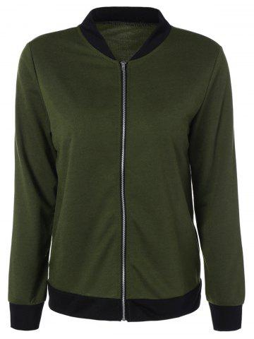 Buy Stand Collar Zipper Design Jacket ARMY GREEN L