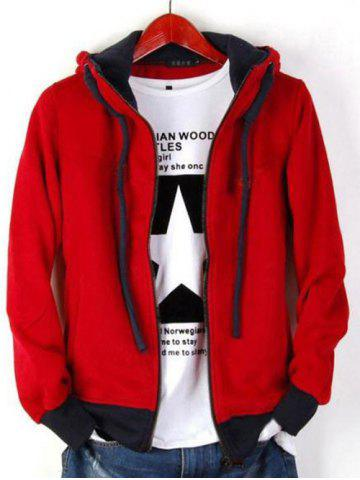 Zip Up Drawstring Contrast Insert Hoodie - Red - M