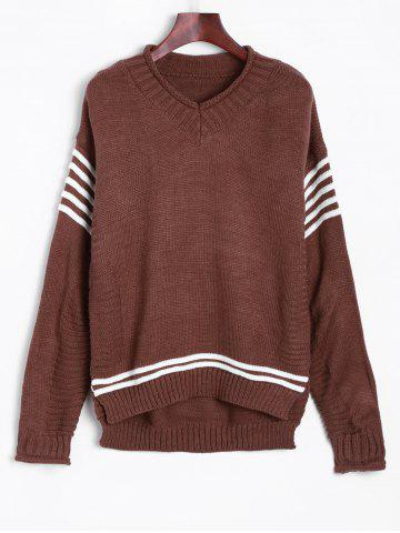 Cheap V Neck Pullover Sweater With Stripe Sleeve