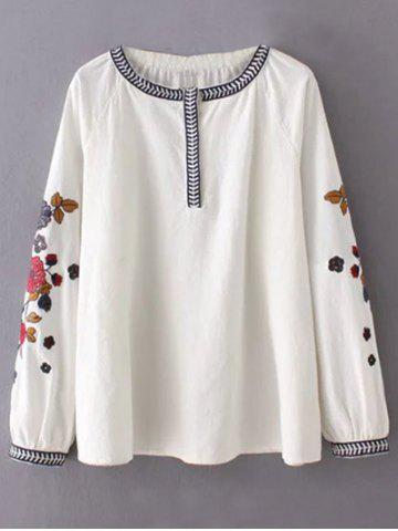 Sale Round Neck Flower Embroidered Tunic Blouse WHITE L