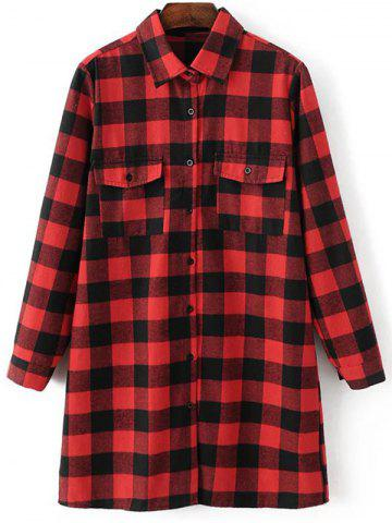 Outfits Checked Boyfriend Long Flannel Boyfriend Shirt RED L