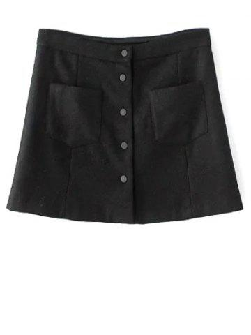Store Wool Blend Single-Breasted A Line Skirt