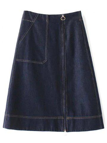Chic Zippered Denim A Line Skirt