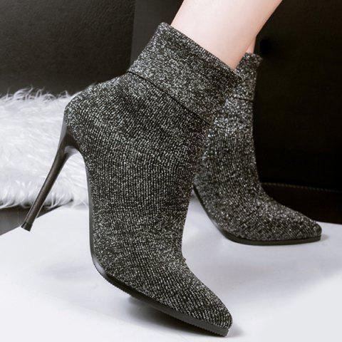 Chic Ribbed Pointed Toe Glitter Short Boots