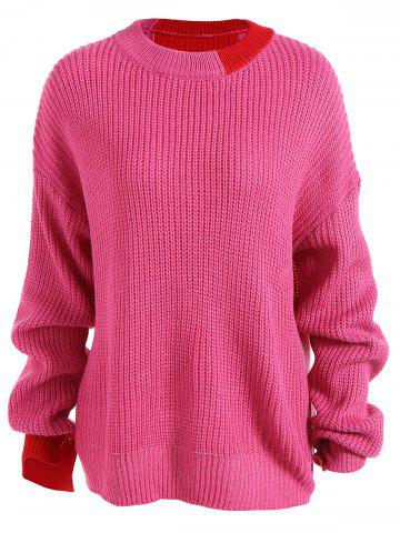 Buy Loose Drop Shoulder Sweater ROSE RED ONE SIZE