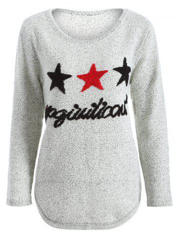 New Star Letter Pattern Sweater GRAY ONE SIZE