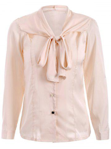 Discount Bow Tie Neck Satin Shirt APRICOT XL
