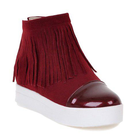 Color Block Ankle Boots - Wine Red - 37