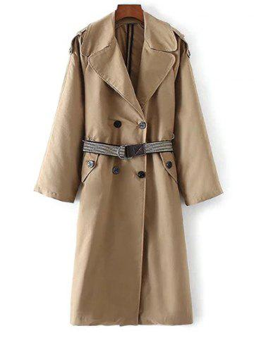 Shop Buttoned Pockets Belted Trench Coat