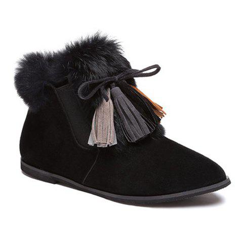 Cheap Point Toe Tassels Flat Suede Boots