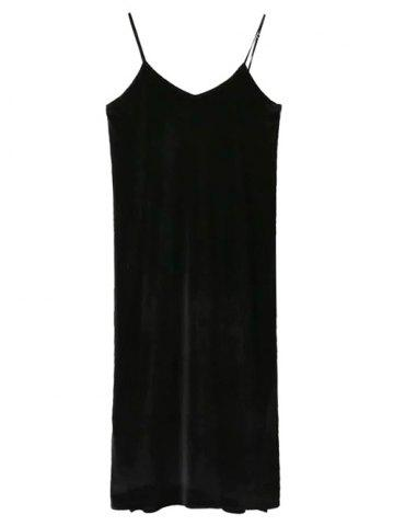 Outfits Pleuche Slip Dress with Letter Mock Neck T-Shirt - L WHITE AND BLACK Mobile