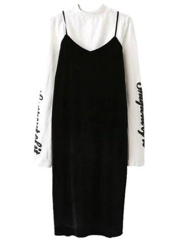 Chic Pleuche Slip Dress with Letter Mock Neck T-Shirt - M WHITE AND BLACK Mobile