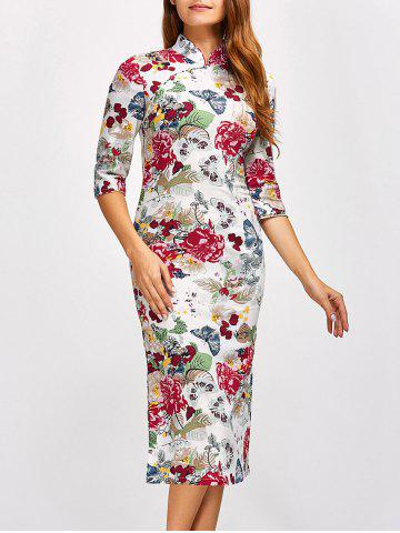 Fancy Chinese Qipao Floral Midi Pencil Dress WHITE L