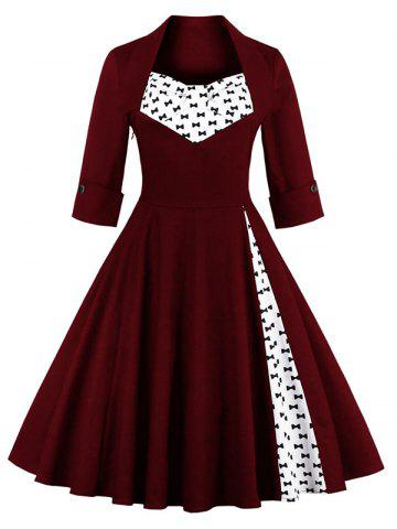 Hot Bowknot Swing Dress Vintage Prom Dresses WINE RED S