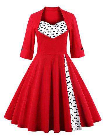 Buy Bowknot Swing Dress - Bright Red 3XL