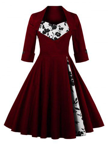 Knee Length Floral Flare Corset Dress - Wine Red - M