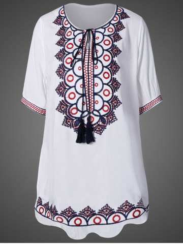 Trendy Embroidered Tunic Dress