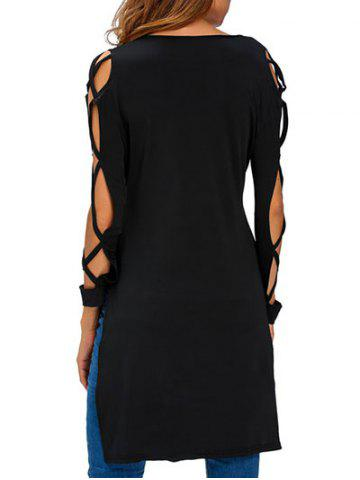 Store V Neck High Low Cut Out T-Shirt - S BLACK Mobile