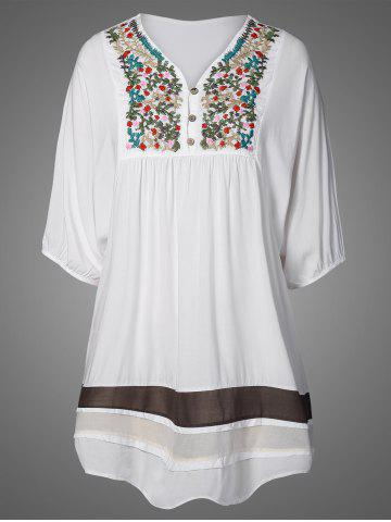 Trendy Embroidered Bib Casual Dress WHITE ONE SIZE