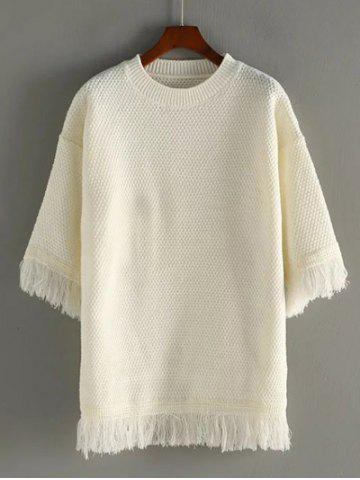 Discount Crew Neck Fringed Pullover Sweater