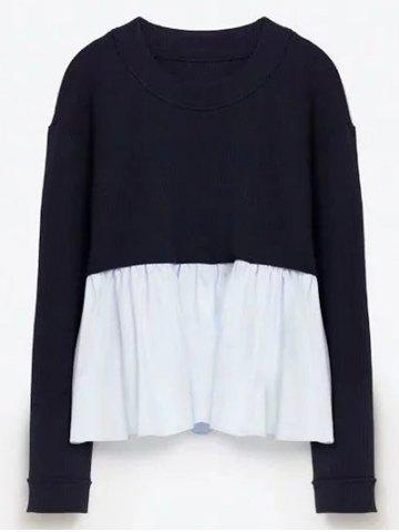 Trendy Round Neck Ruffles Panel Knitwear