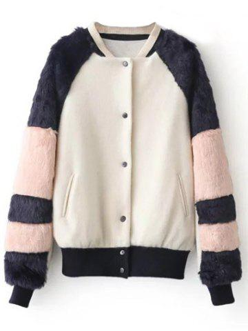 Outfit Stand Neck Faux Fur Panel Coat