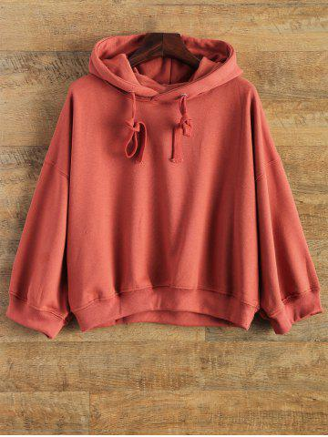 Sale Drawstring Drop Shoulder Hoodie - ONE SIZE RED Mobile