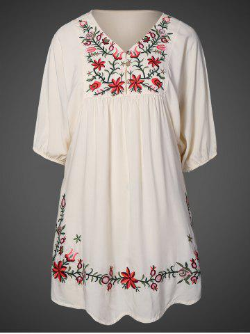 Discount V Neck Embroidered Bib A Line Casual Dress Female APRICOT ONE SIZE