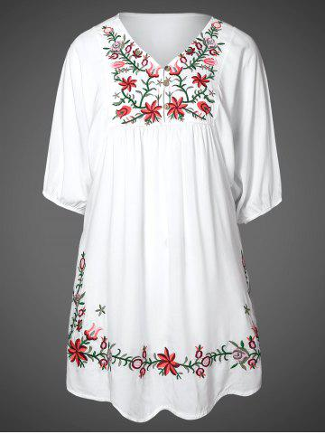 Sale V Neck Embroidered Shift Casual Dress