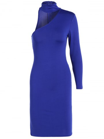 Trendy Long Sleeve One Shoulder Bodycon Dress ROYAL BLUE S