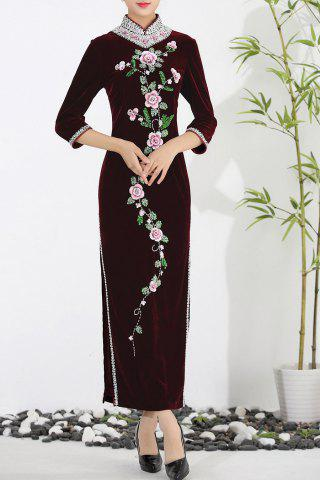 Trendy Floral Rhinestone Velvet Maxi Evening Cheongsam Dress WINE RED 2XL