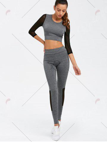 Outfit Skinny Mesh Spliced Sport Suit - L GRAY Mobile
