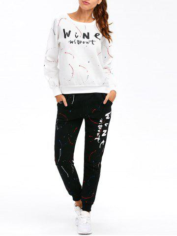 Outfit Graphic Sweatshirt with Jogger Pants WHITE 3XL