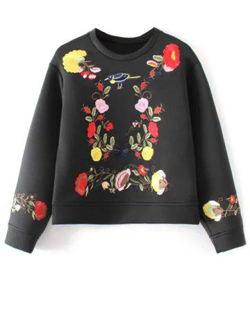 Outfits Crew Neck Flower Embroidered Sweatshirt BLACK L