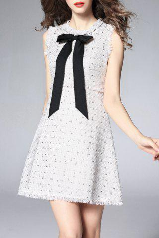 Outfits Sleeveless Contrast Bow Tweed Mini Dress - L WHITE Mobile