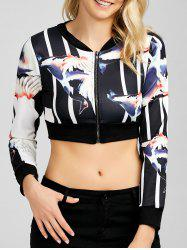 Zippered Up Wings Print Cropped Sweatshirt -