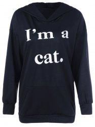 Cat Graphic Jumper Hoodie - BLACK XL