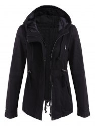 Drawstring Cargo Jacket with Hood - BLACK