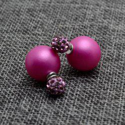 Pair of Pure Color Round Faux Pearl Stud Earrings for Women - LIGHT PURPLE