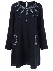 Rhinestone Embellished Loose Dress - BLACK XL