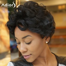 Adiors Side Bang Short Curly Synthetic Wig -
