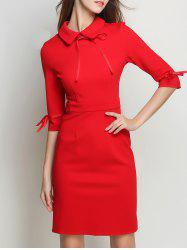 Bowknot Flat Collar Sheath Dress -