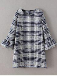 Bell Sleeve Checked Thick Shift Dress -