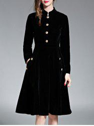 A Line Velvet Long Sleeve Dress -