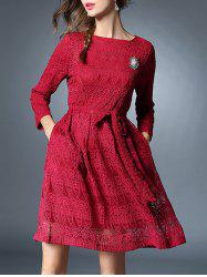 Bowknot Long Sleeve Lace Dress With Brooch -