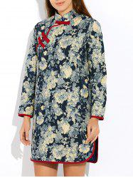 Floral Long Chinese Style Coat - GRAY L