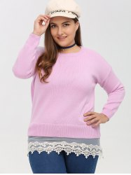 Crew Neck Lace Spliced Plus Size Sweater -