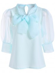 Pussy Bow Puff Sleeves Organza Panel Blouse